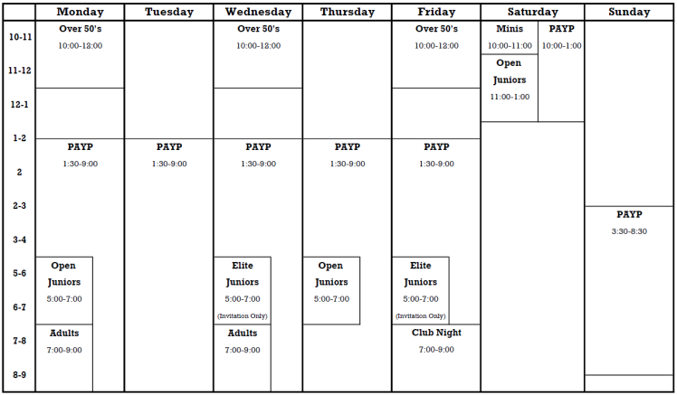 Normal Timetable