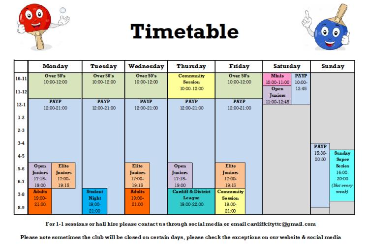 Timetable Sep 2017
