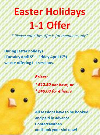 Easter holidays 1-1 offer