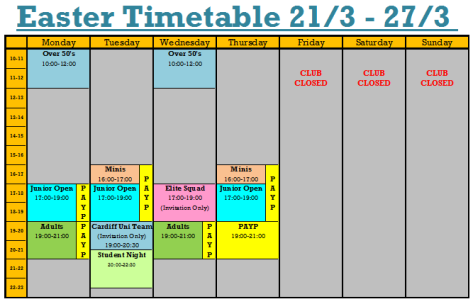 Easter Timetable Wk 1