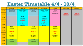 Easter Timetable Wk 3